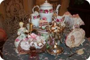 Tea Table - Pretty lace, Victorian Silver spoon holder, Tea Time sign, Tea set, & faux treats!