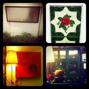 Clockwise from top left: The minimalist signage, an ornate Peranakan tile, the comforting sound of water boiling from a tetsubin, my favorite cozy corner