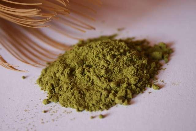 Matcha green tea latte with zen green tea matcha