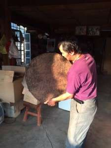 Nannuo Mountain teamaster Li Shulin with his small batch fermented shu pu er.