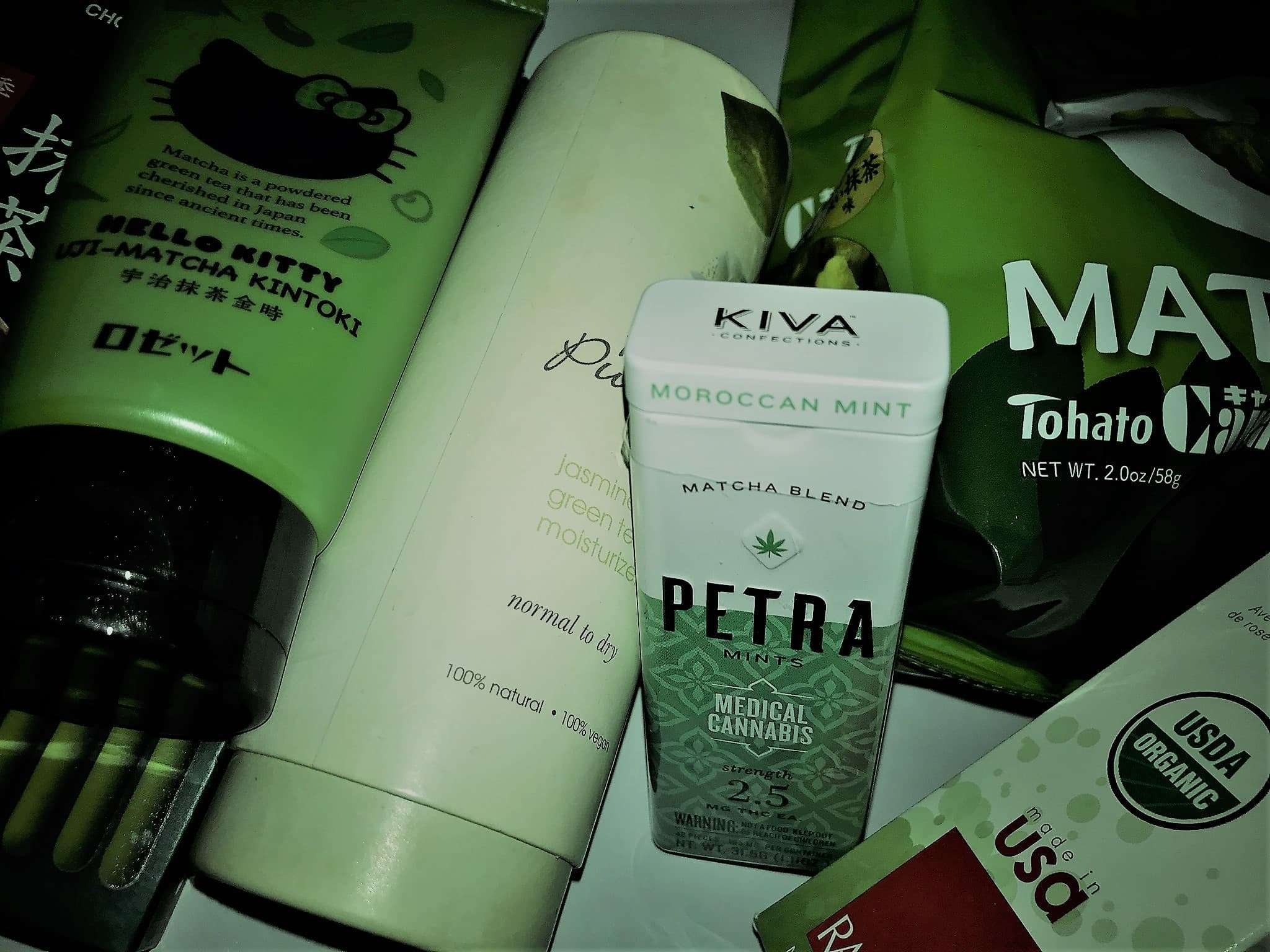 Photo of a pile of matcha-infused products