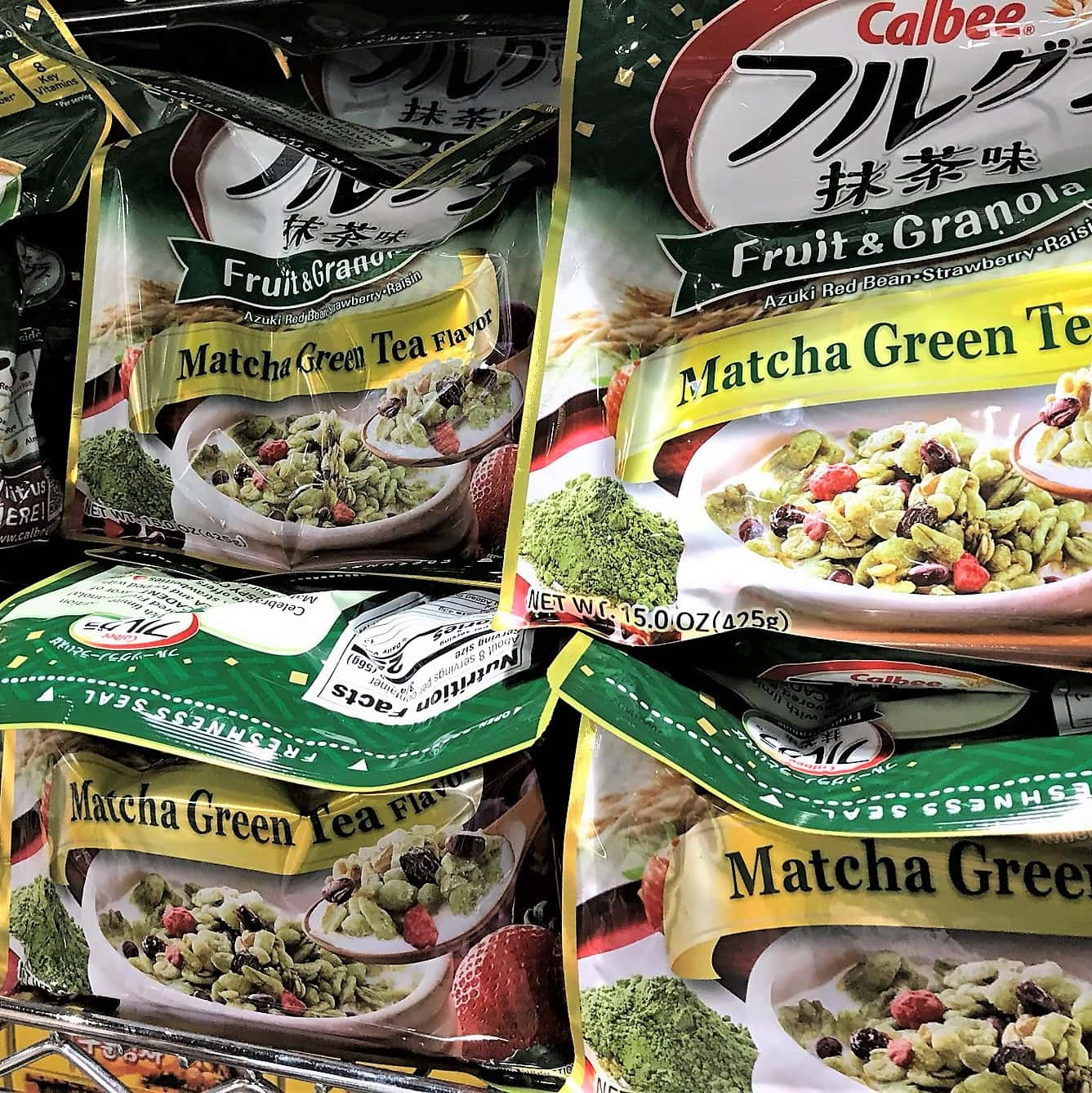 Photo of packages of matcha fruit and granola