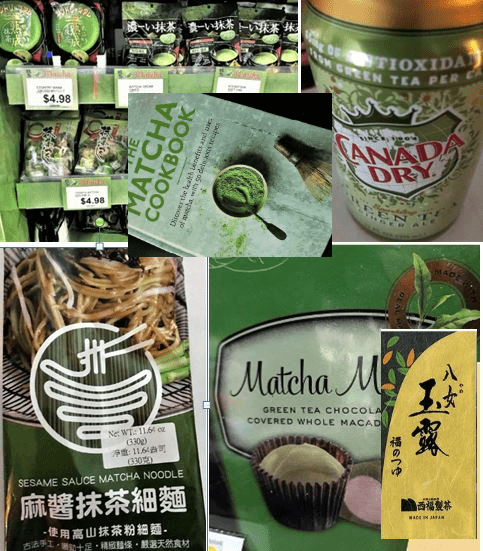 Photo collage of various matcha snacks