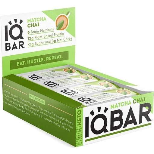 Photo of a display box of IQBar Brain + Body Protein Bars in the Matcha Chai flavor.