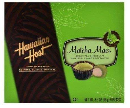 Photo of a package of Hawaiian Host Matcha Green Tea Chocolate Covered Macadamias.