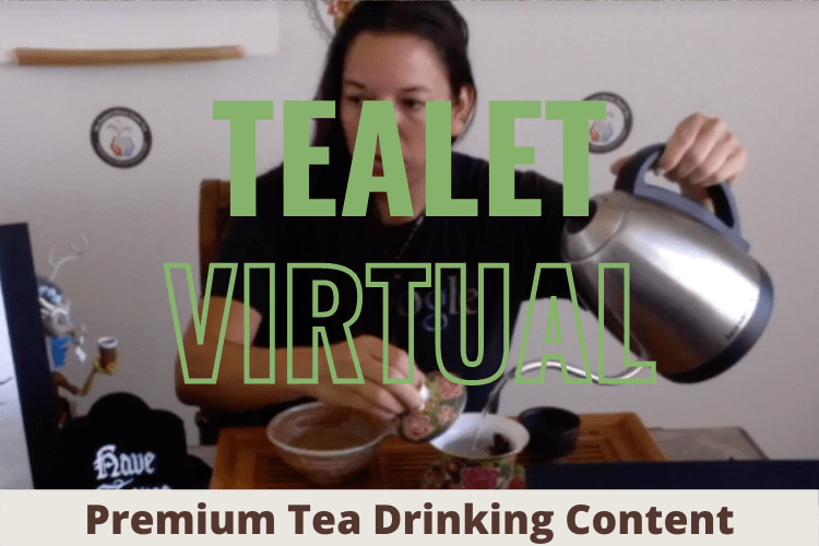 Photo of Elyse pouring tea with the text over the top: Tealet Virtual: Premium Tea Drinking Content