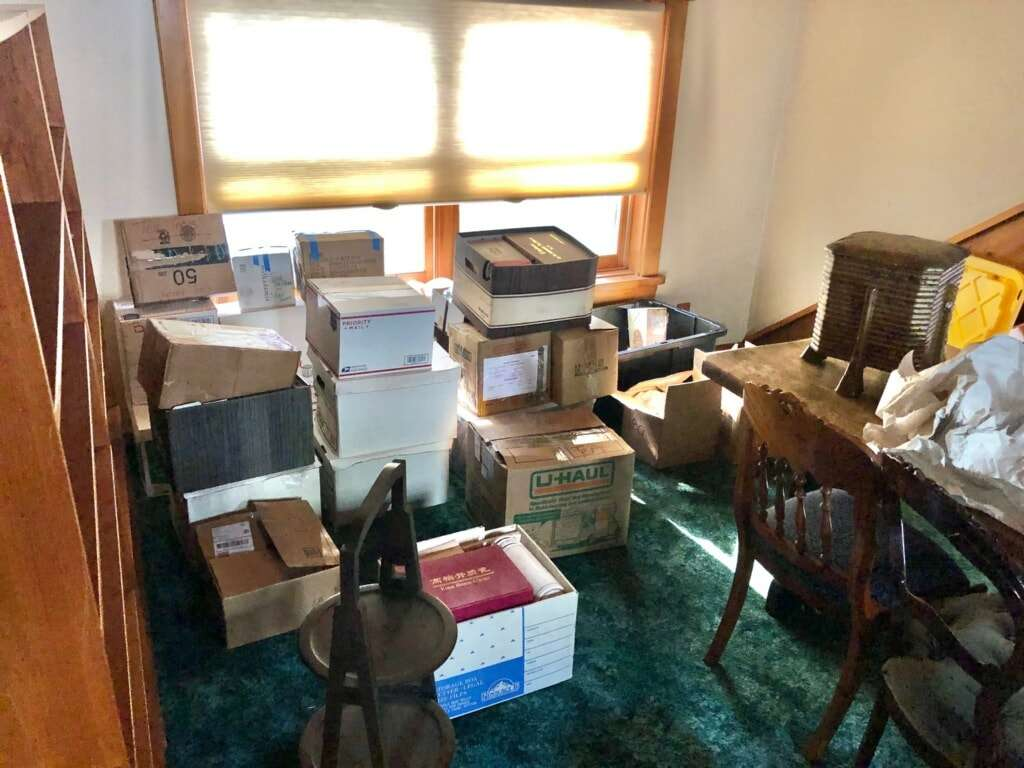 When A Tea Person Moves - A room full of boxes of tea and teaware.