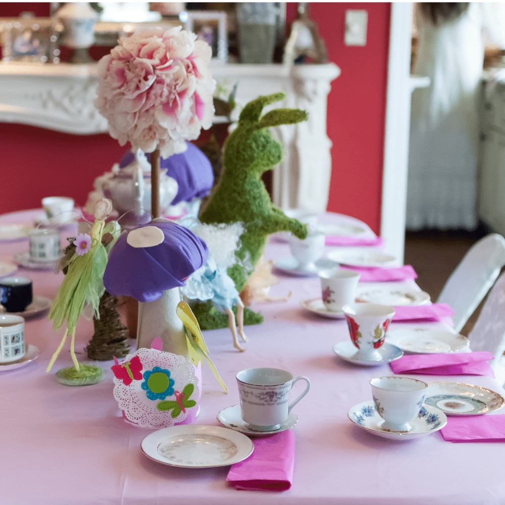 Five Tips for Sharing Tea with Kids - Photo of a table set for tea, with whimsical child-focused touches.