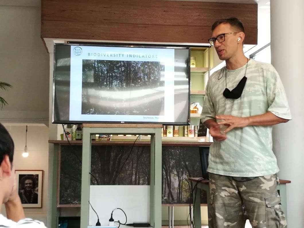 Biodiversity Research and Wild Origin Teas - Part 1 - Photo of Alexey Reshchikov giving a presentation