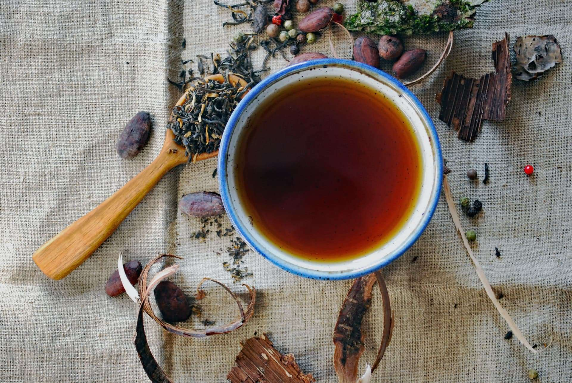 The Power Of Tea In The Quest For Optimum Immune Health - Photo of a cup of tea surrounded by loose herbs