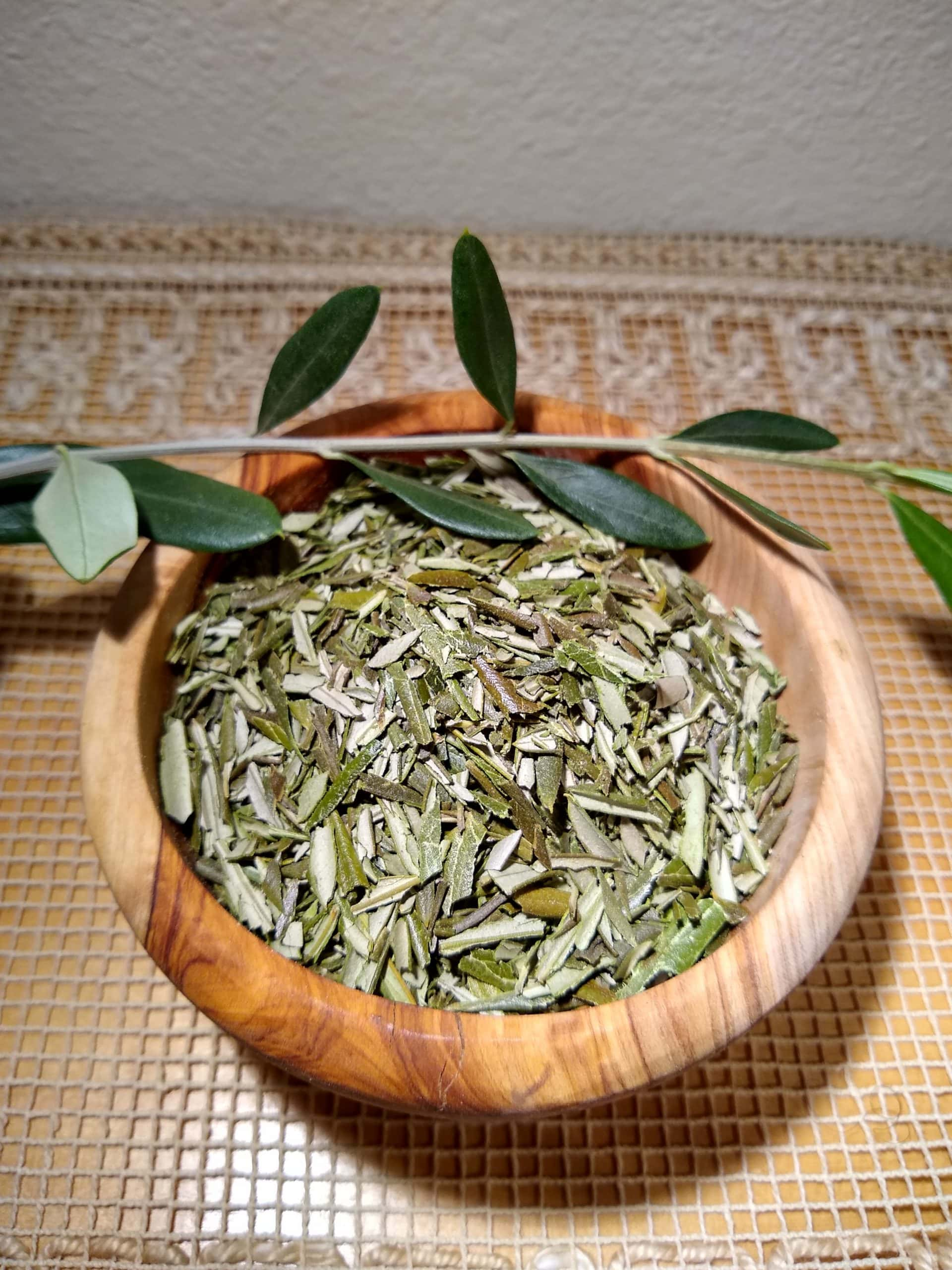 Olive Leaf Tea - Photo of a bowl of dried olive leaves with a branch across the top