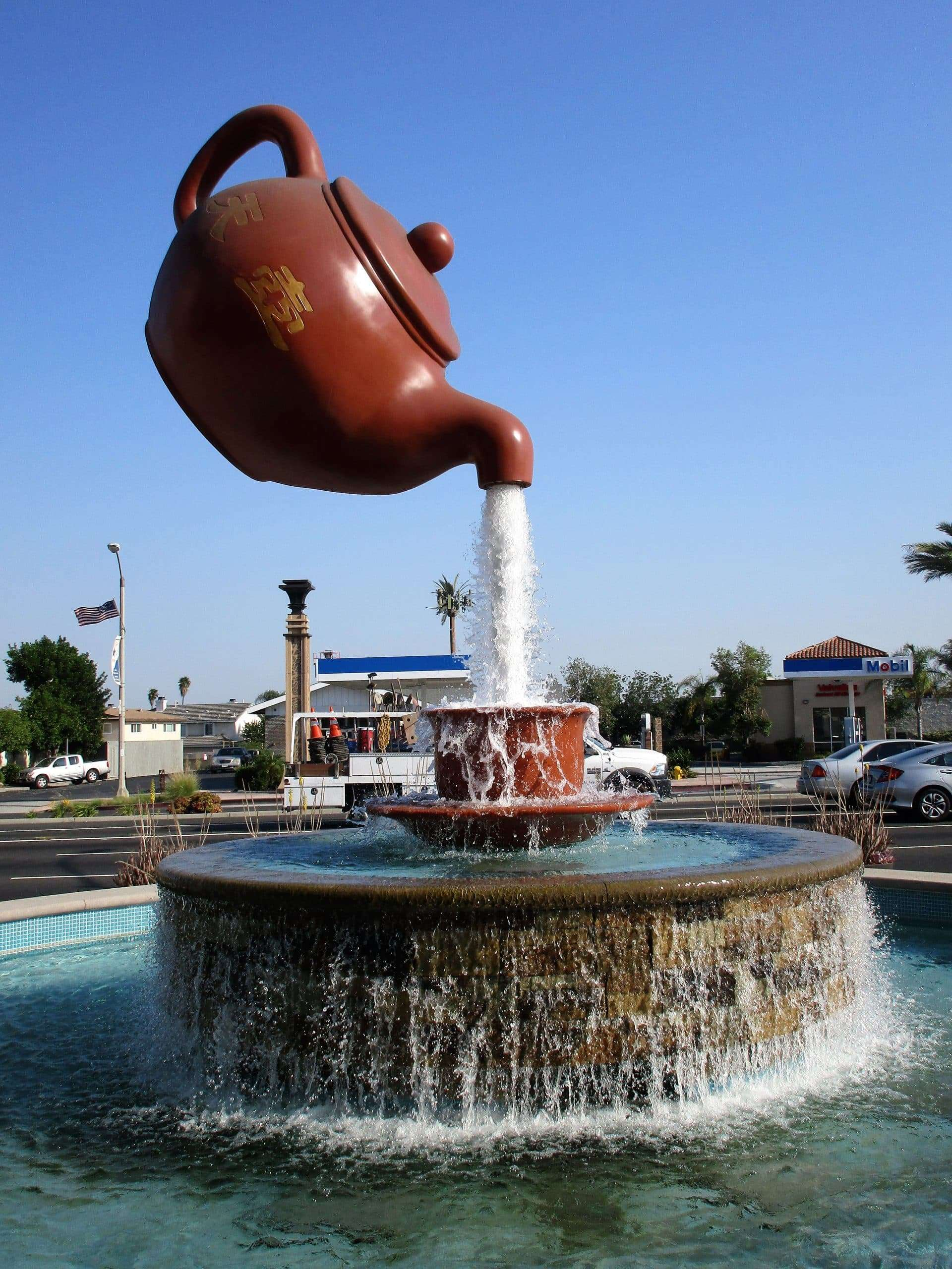 Tea Along U.S. Route 66 - Photo of the teapot hanging in the air.