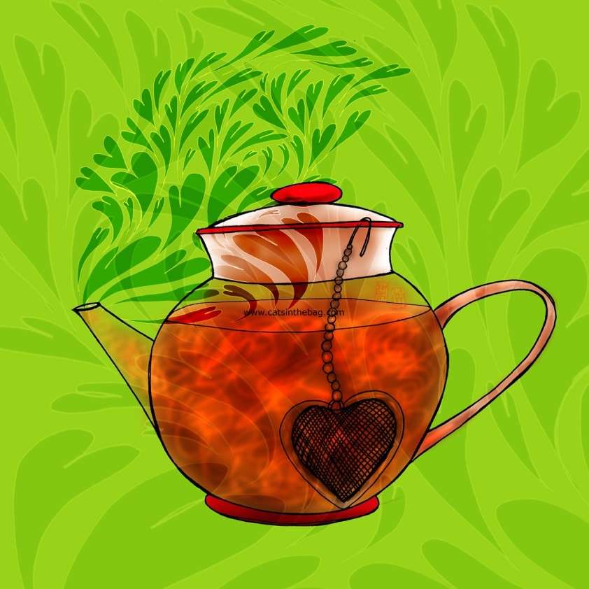What My Tea Says To Me: HappTEAness - An illustration of a teapot with a heart-shaped diffuser and heart-shaped steam