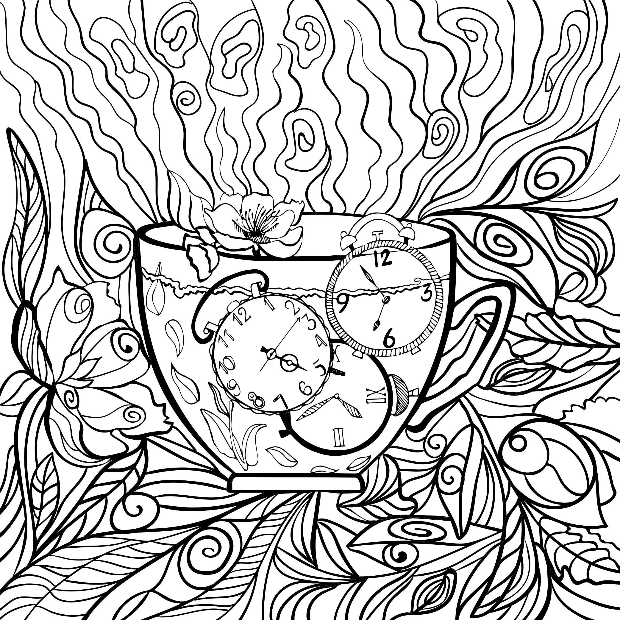 Coloring Page - time in a teacup